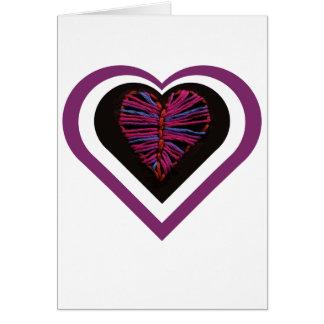 Cartão costurado rosa do coração