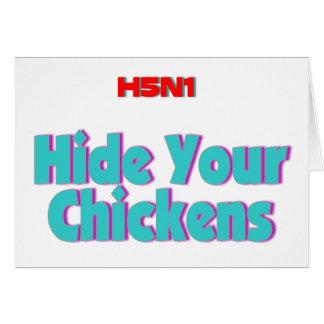 Cartão Couro cru H5N1 suas galinhas