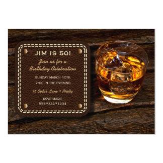 Cartão Couro de madeira escocês do uísque masculino