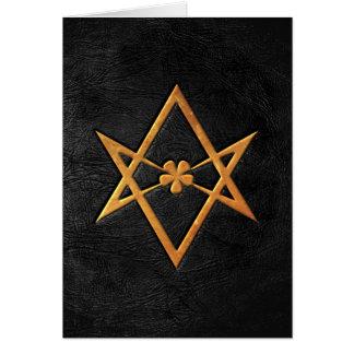 Cartão Couro Unicursal dourado do preto do Hexagram de