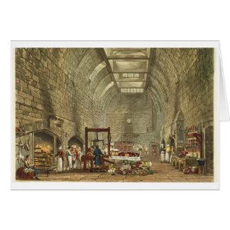 Cartão Cozinha antiga, castelo de Windsor, gravado por