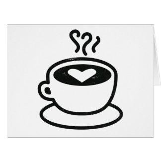Cartão Cozinhando o copo de café com design do coração