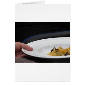 Cartão Cozinheiro chefe Agnolotti handmade cozinhado