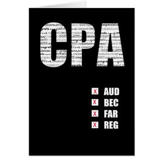 Cartão CPA que passa o texto do costume do teste