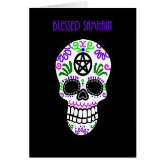 Cartão Crânio abençoado do Pentacle de Samhain