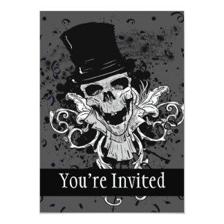 Cartão Crânio assustador com chapéu alto