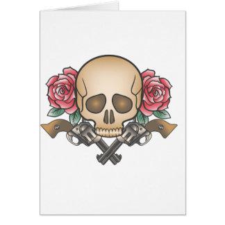 Cartão crânio com armas e flores do vintage