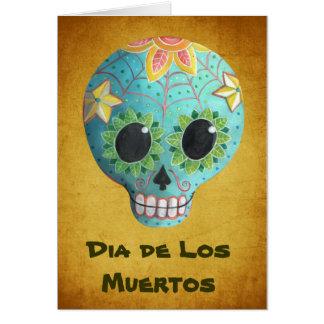 Cartão Crânio do açúcar de Azul Diâmetro de Los Muertos