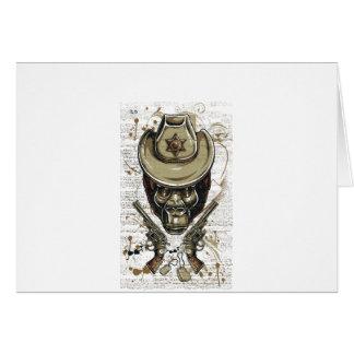 Cartão crânio do vaqueiro do macaco com armas gêmeas