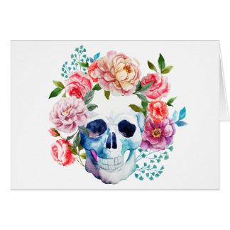 Cartão Crânio e flores artísticos da aguarela
