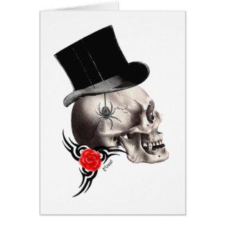 Cartão Crânio gótico e estilo cor-de-rosa do tatuagem
