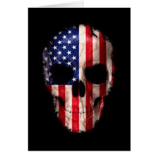 Cartão Crânio imprimido da bandeira americana