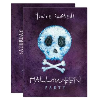 Cartão Crânio na moda da aguarela do Dia das Bruxas e