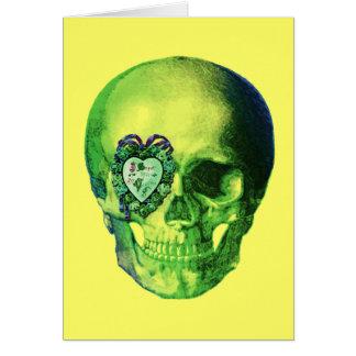 Cartão Crânio verde dos namorados