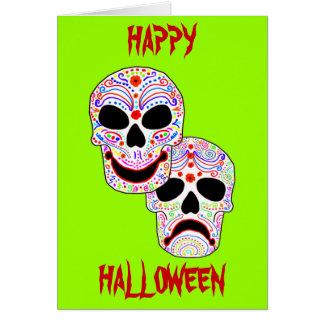Cartão Crânios da Comédia-Tragédia do Dia das Bruxas DOTD