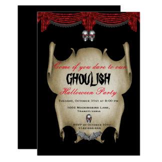Cartão Crânios de prata Ghoulish o Dia das Bruxas