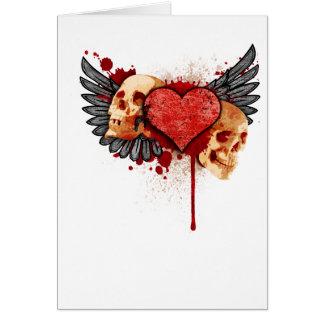 Cartão Crânios dos Anti-Namorados com asas