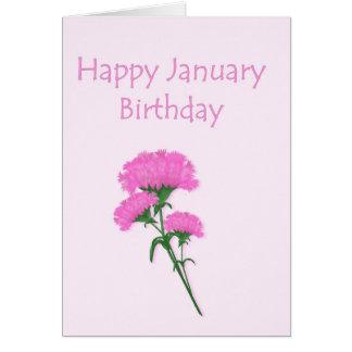 Cartão Cravos do aniversário de janeiro