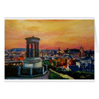 Cartão Crepúsculo de Edimburgo Scotland Skylineat