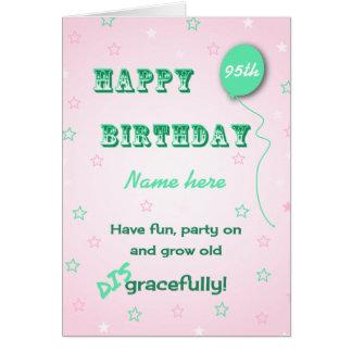 Cartão Cresça vergonhosa o nome e a idade feitos sob