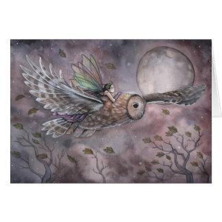 Cartão crescente da arte da coruja e da fada por