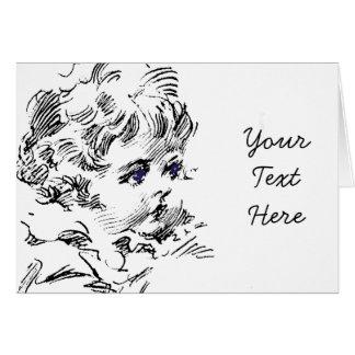 Cartão Criança de cabelo encaracolado bonito