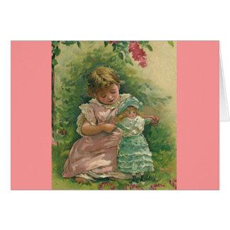 Cartão Criança do vintage com boneca Notecard