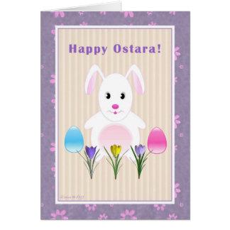 Cartão Criança - Ostara feliz - coelho de Ostara