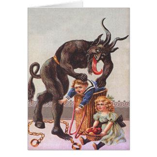 Cartão Crianças do rapto de Krampus