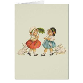 Cartão Crianças e coelhos do vintage