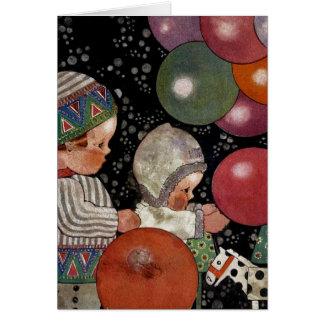 Cartão Crianças festa de aniversário, balões e brinquedos
