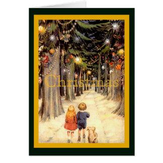 Cartão Crianças na pista do Natal