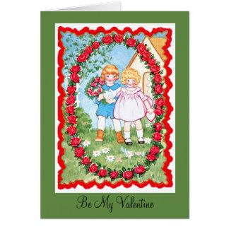 Cartão Crianças no quadro cor-de-rosa Valenitne