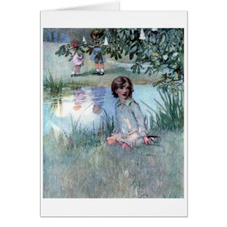 Cartão Crianças por uma lagoa,