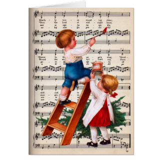 Cartão Crianças que pintam a música de Caroling