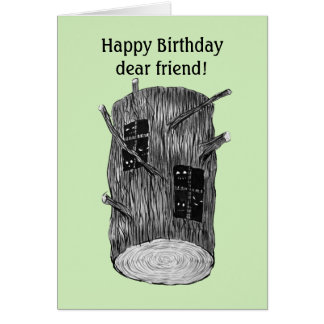 Cartão Criaturas da floresta no aniversário feito sob