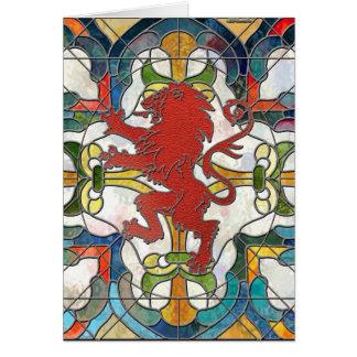 Cartão Crista do leão do vitral
