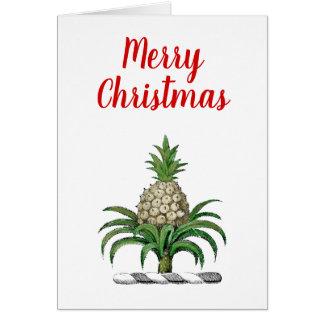 Cartão Crista heráldica do abacaxi do Feliz Natal