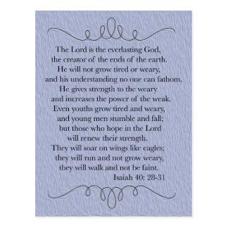 Cartão cristão azul do verso da bíblia
