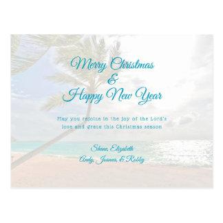 Cartão Postal Cartão cristão tropical da mensagem do ano novo do