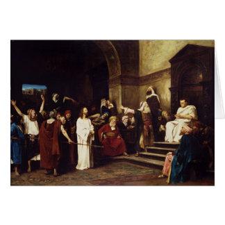 Cartão Cristo antes de Pilate