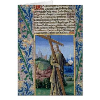 Cartão Cristo com a cruz e a esfera