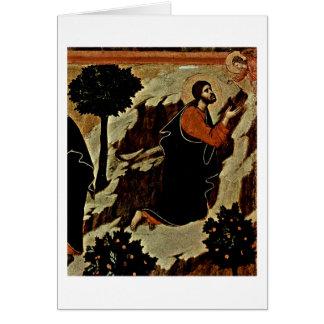 Cartão Cristo e anjo Praying com o cálice por Duccio