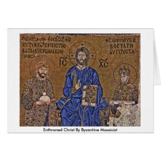 Cartão Cristo Enthroned pelo Mosaicist bizantino