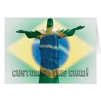 Cartão Cristo o redentor envolvido na bandeira brasileira