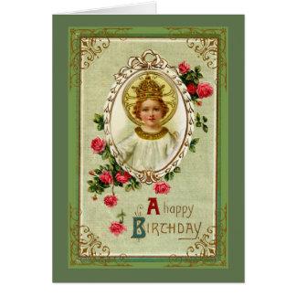 Cartão Cristo o rei Aniversário Criança Jesus Rosa