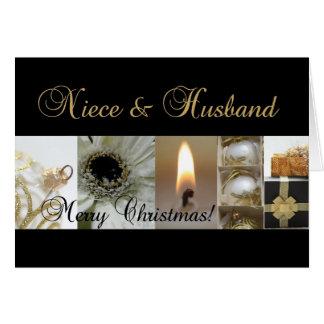 Cartão Cristo preto do ouro do Feliz Natal da sobrinha &