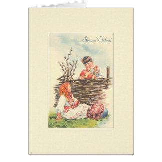 Cartão croata da páscoa de Sretan Uskrs do vintage