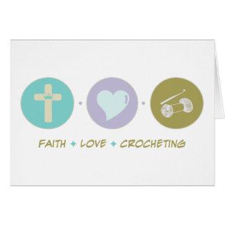 Cartão Crocheting do amor da fé