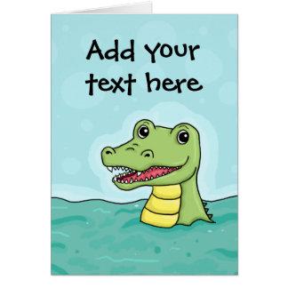 Cartão Crocodilo feliz customisable